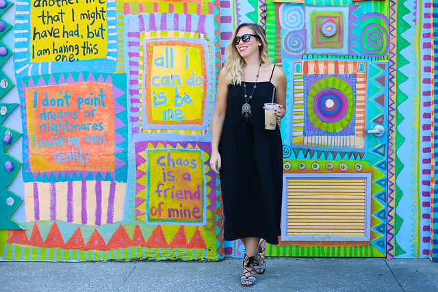 Black Midi Dress Colorful Wall Iced Coffee Summer Style Living After Midnite Fashion Jackie Giardina