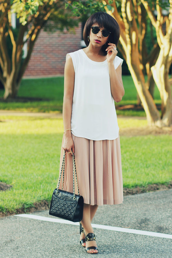 pastel pleated skirt