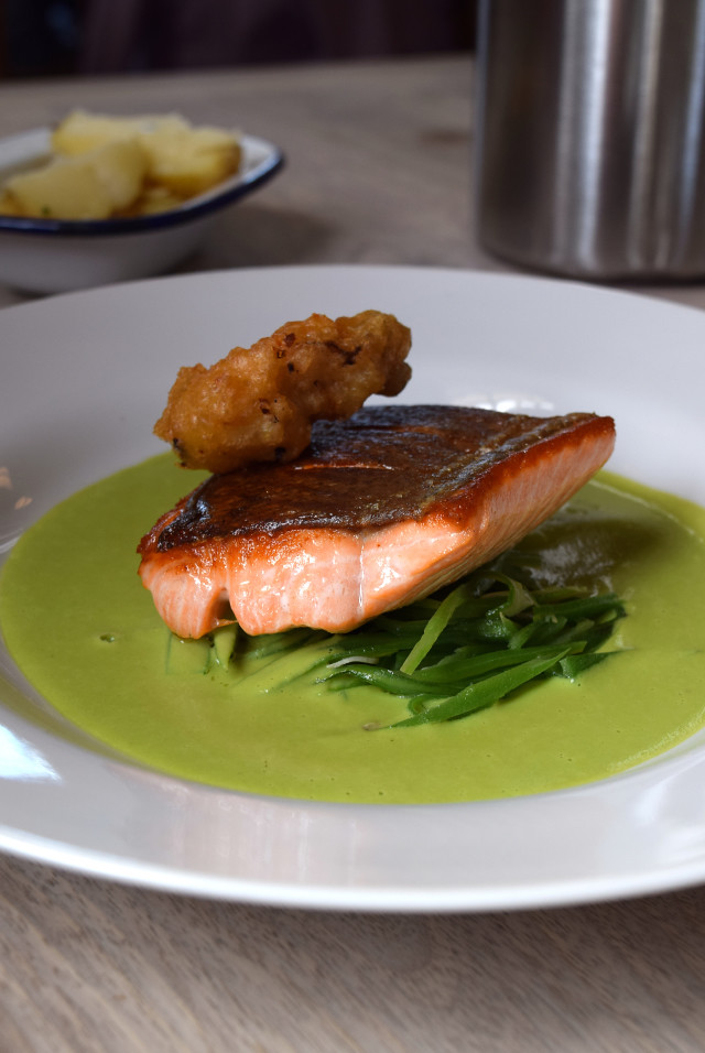 Sea Trout with Pea Sauce and a Deep Fried Oyster at The Sportsman, Seasalter | www.rachelphipps.com @rachelphipps