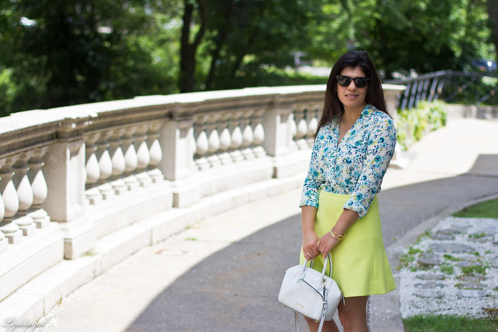 floral blouse, neon skirt, white bag, gorjana vista cuff-1.jpg
