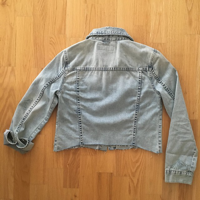 BLANKNYC Crop Denim Jacket in karaoke disaster, size XS