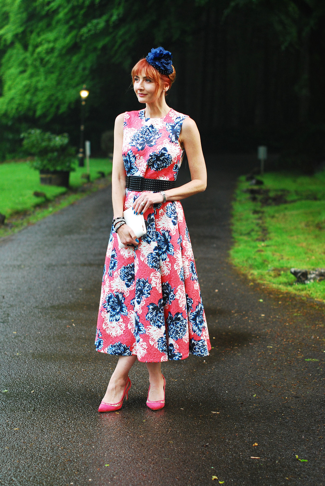 Wedding guest outfit - Jaeger SS16 50s style peony print floral top and skirt dress | Not Dressed As Lamb