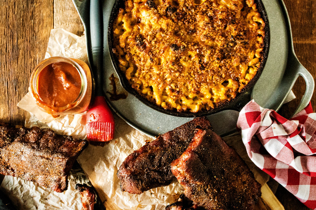 Smoked Jalapeno Mac and Cheese with Memphis Style Char-Smoked Pork Ribs is the perfect summer grilling recipe - whether camping or at home on the grill!