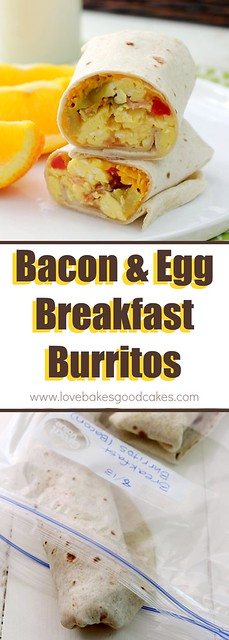 Bacon & Egg Breakfast Burritos collage.