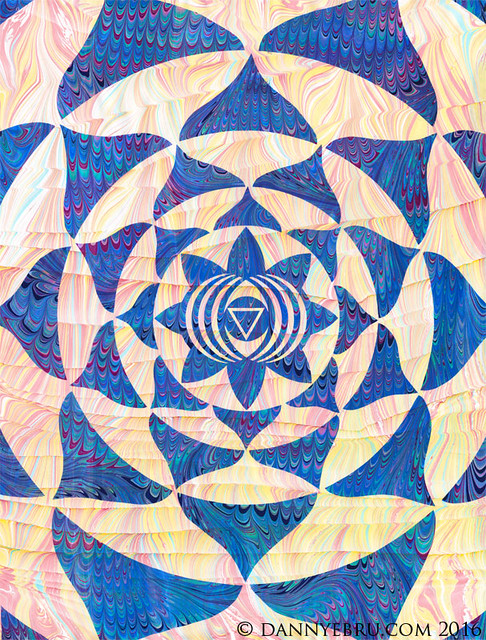 Ebru Art - Third Eye Mandala - Ajna Chakra
