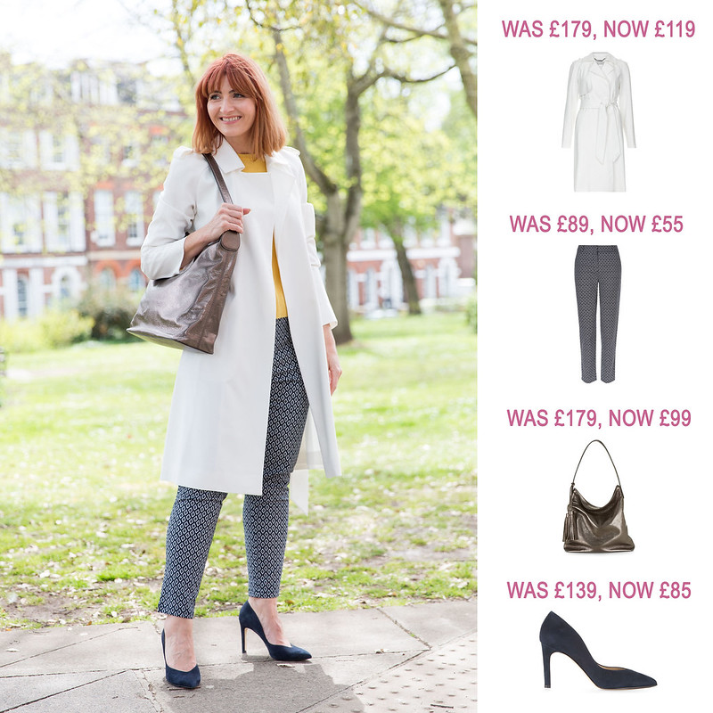 Summer Sales Picks SS16 - Hobbs trench, printed trousers, Winchester metallic tote, navy heels | Not Dressed As Lamb