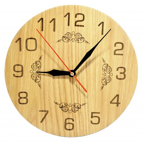 Đồng hồ gỗ hình tròn - hoa văn số 4