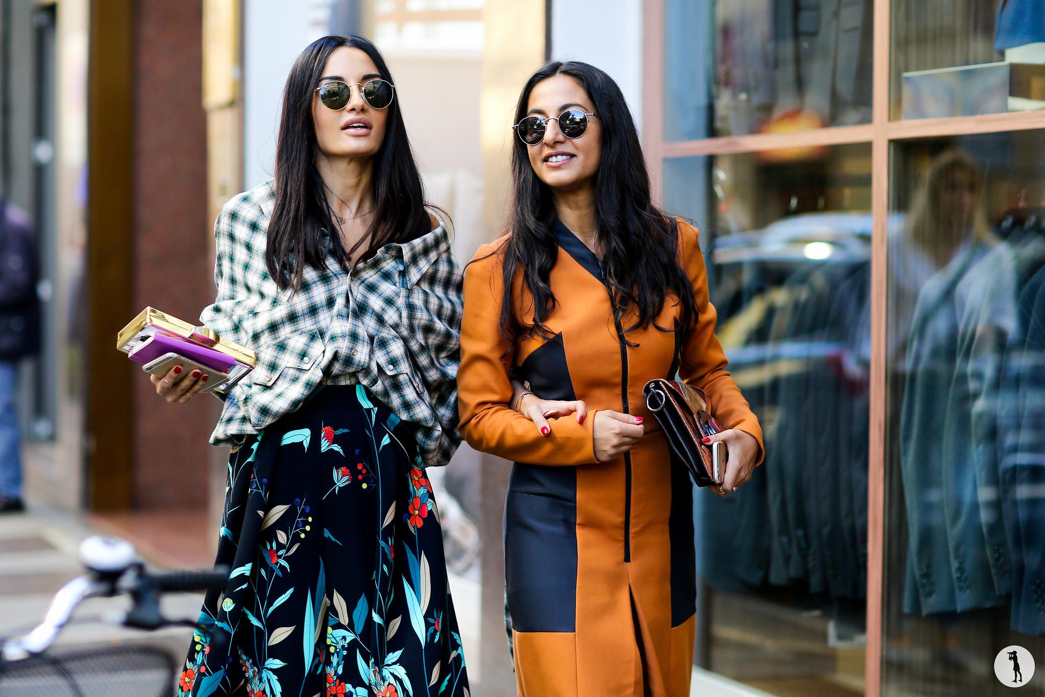 Amina Muaddi and Nausheen Shah at Milan Fashion Week