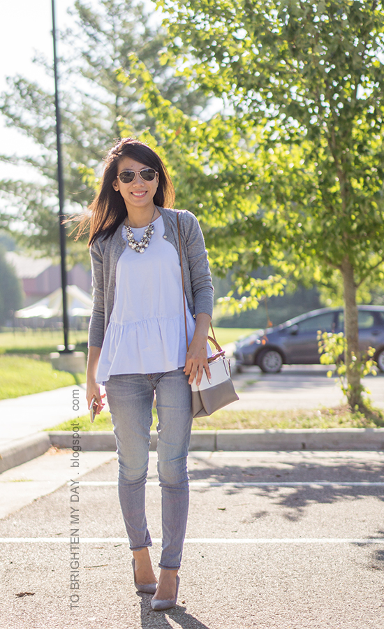 pearl cluster necklace, gray cardigan, baby blue peplum top, lightwash jeans, colorblocked bag, gray suede pumps
