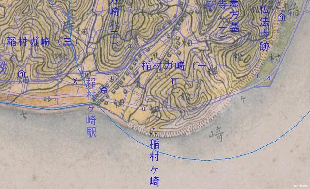 稲村ケ崎周辺の迅速測図