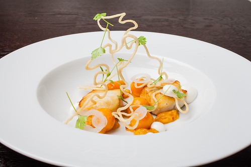 "Halibut with cape gooseberry, chipotle, and masa ""wire"" 06 