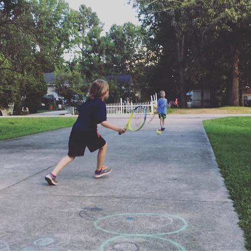 "Sometimes I think we watch too much TV, especially in the summer. But honestly, it's mostly sports. My boys, who have never played tennis, are out here yelling ""Ace!"" and ""Break point!"" And loving it. Thanks, Wimbledon."