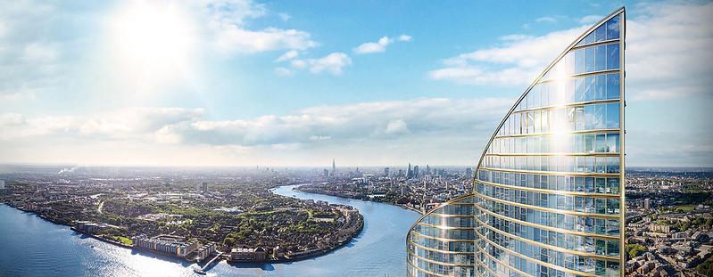 Панорама Лондона с высоты башни Spire London