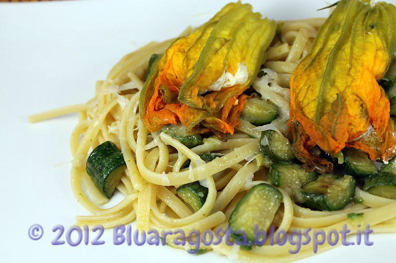 04-linguine alle zucchine con fiori di zucca ripieni al vapore