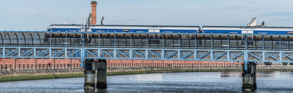 LAGAN RAILWAY PLUS PEDESTRIAN BRIDGE IN BELFAST [TWO FOR THE PRICE OF ONE]--121118