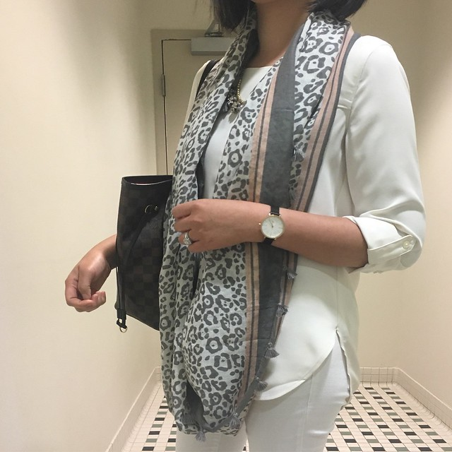 Neutral Outfit With LOFT Tasseled Leopard Print Infinity Scarf