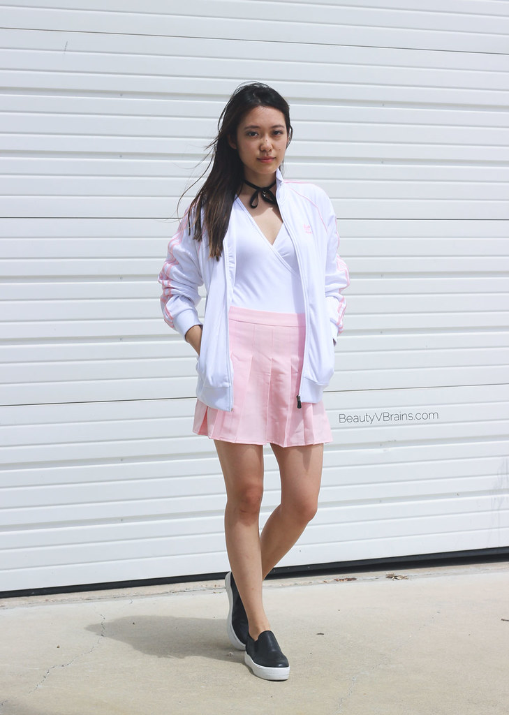 White and pink Adidas track jacket and pink tennis pleated skirt