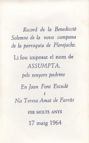 Recordatori bateig campana 1964