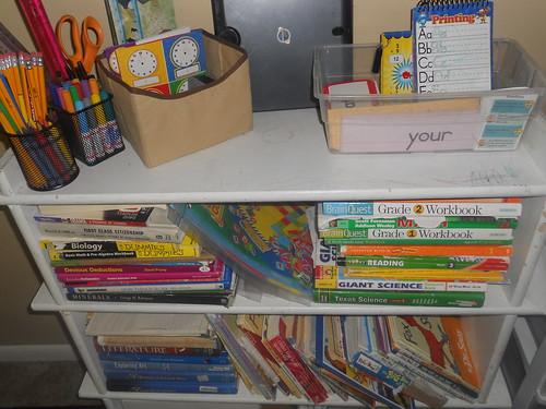 Homeschool Materials on Bookshelf