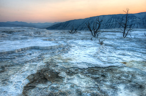 Upper Terraces of Mammoth Hot Springs at Sunrise | by D-Niev