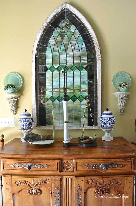 Antique French Buffet/Antique Stained Glass Window - Housepitality Designs