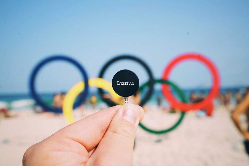 Lumu with the Olympic rings in Rio de Janeiro