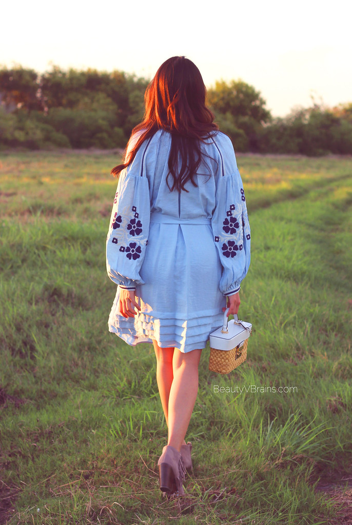 Embroidered puffed sleeve boho dress and taupe booties