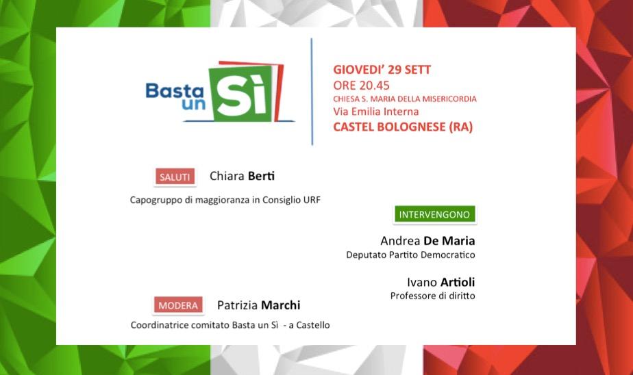 Giovedì 29 settembre incontro organizzato dal comitato bastaunsi sul referendum costituzionale