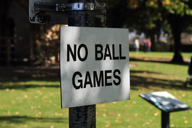 No Ball Games - on the bowling green