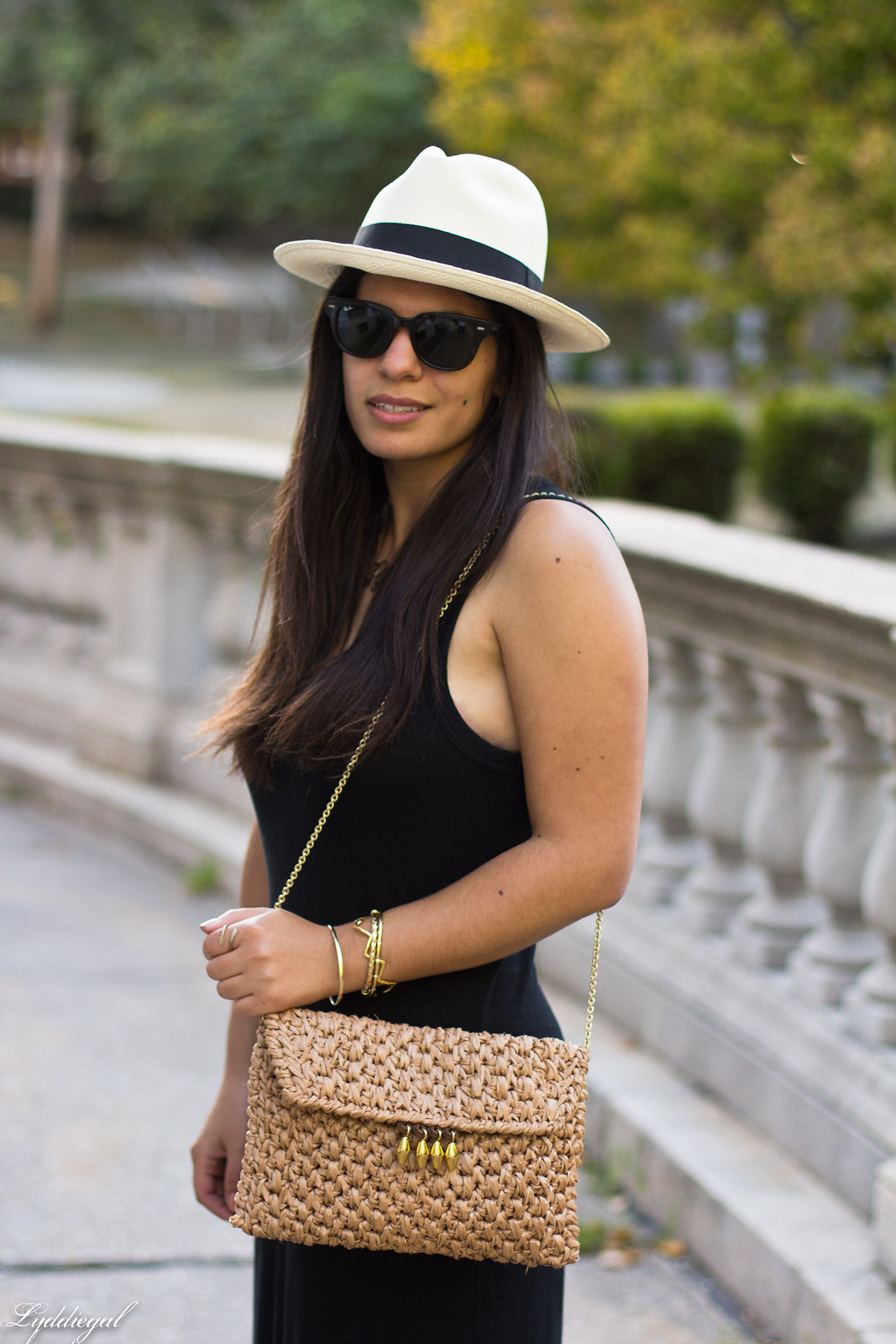 black maxi dress, panama hat, straw clutch-6.jpg