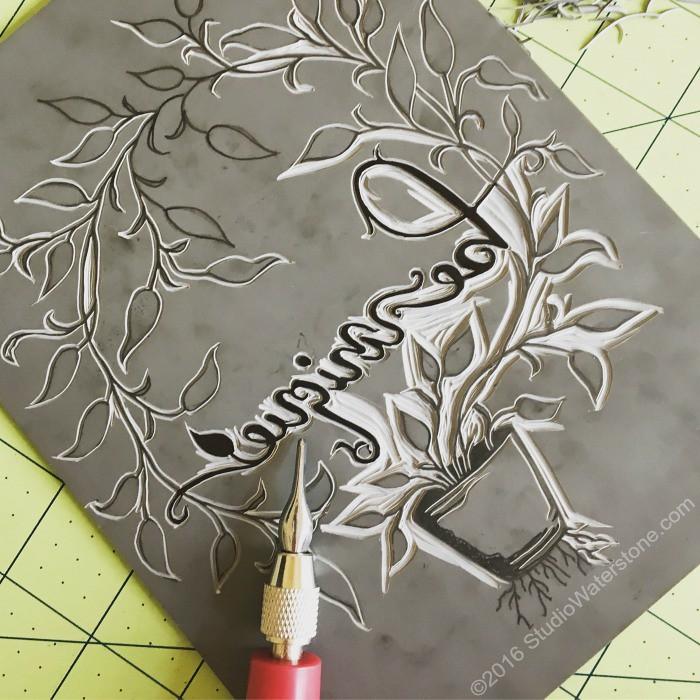 Be Unique Linocut Relief Print