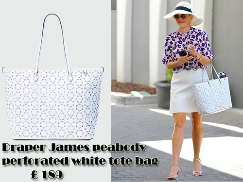 Draper James peabody perforated white tote bag with an A-line mini skirt