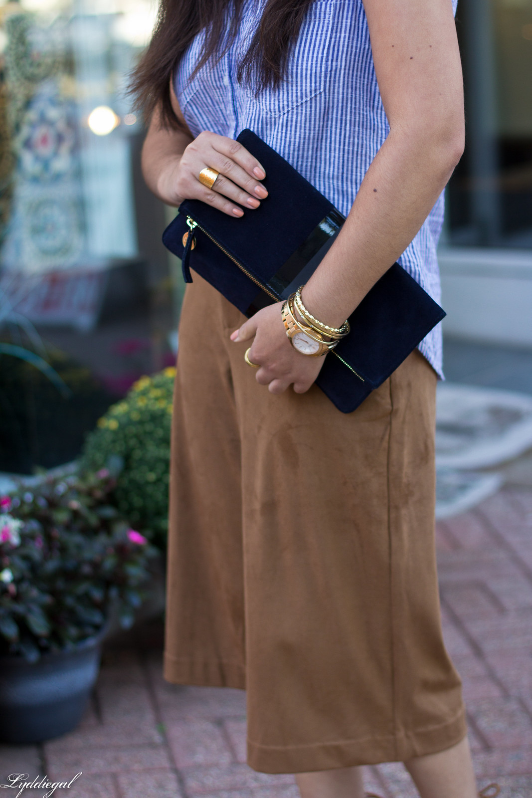 striped shirt, brown suede culottes, clare v clutch-5.jpg