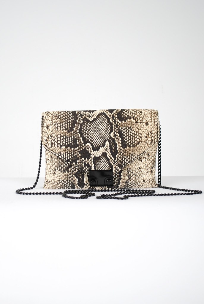 Junior Python-Embossed Lock Clutch