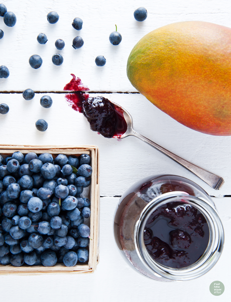 Wild blueberries and mango jam