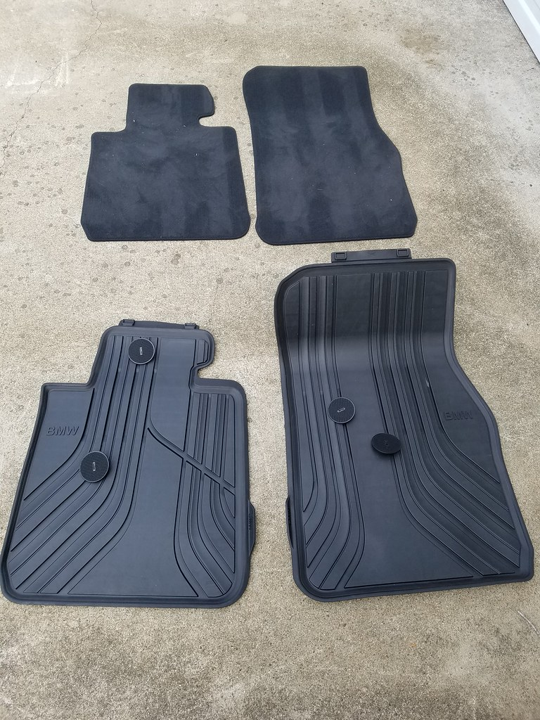 Bmw floor mats x1 - The Front Mats Are Held In Place By Replaceable Velcro Discs The Discs Are Already In The Car For The Carpeted Mats But Bmw Gives You A New