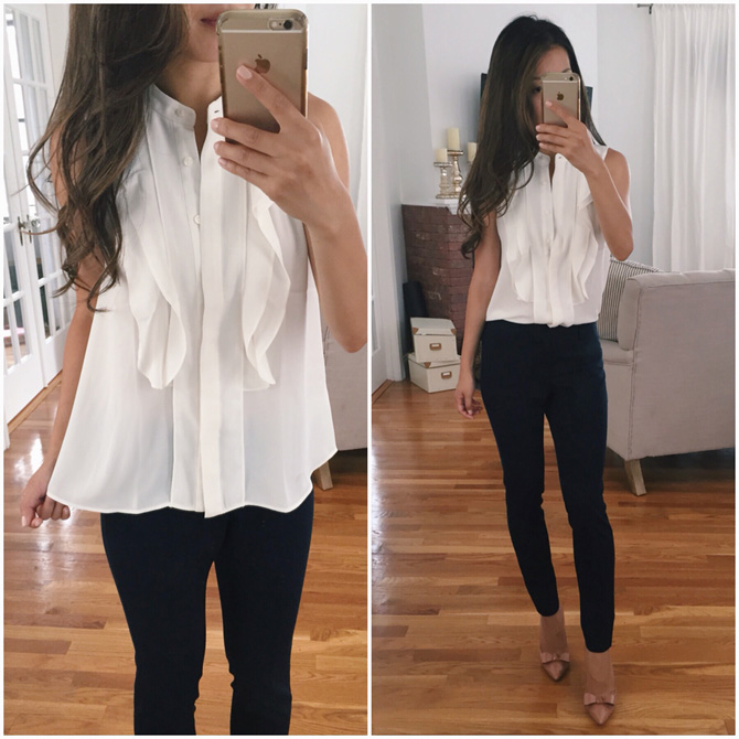 ann taylor white ruffle work blouse
