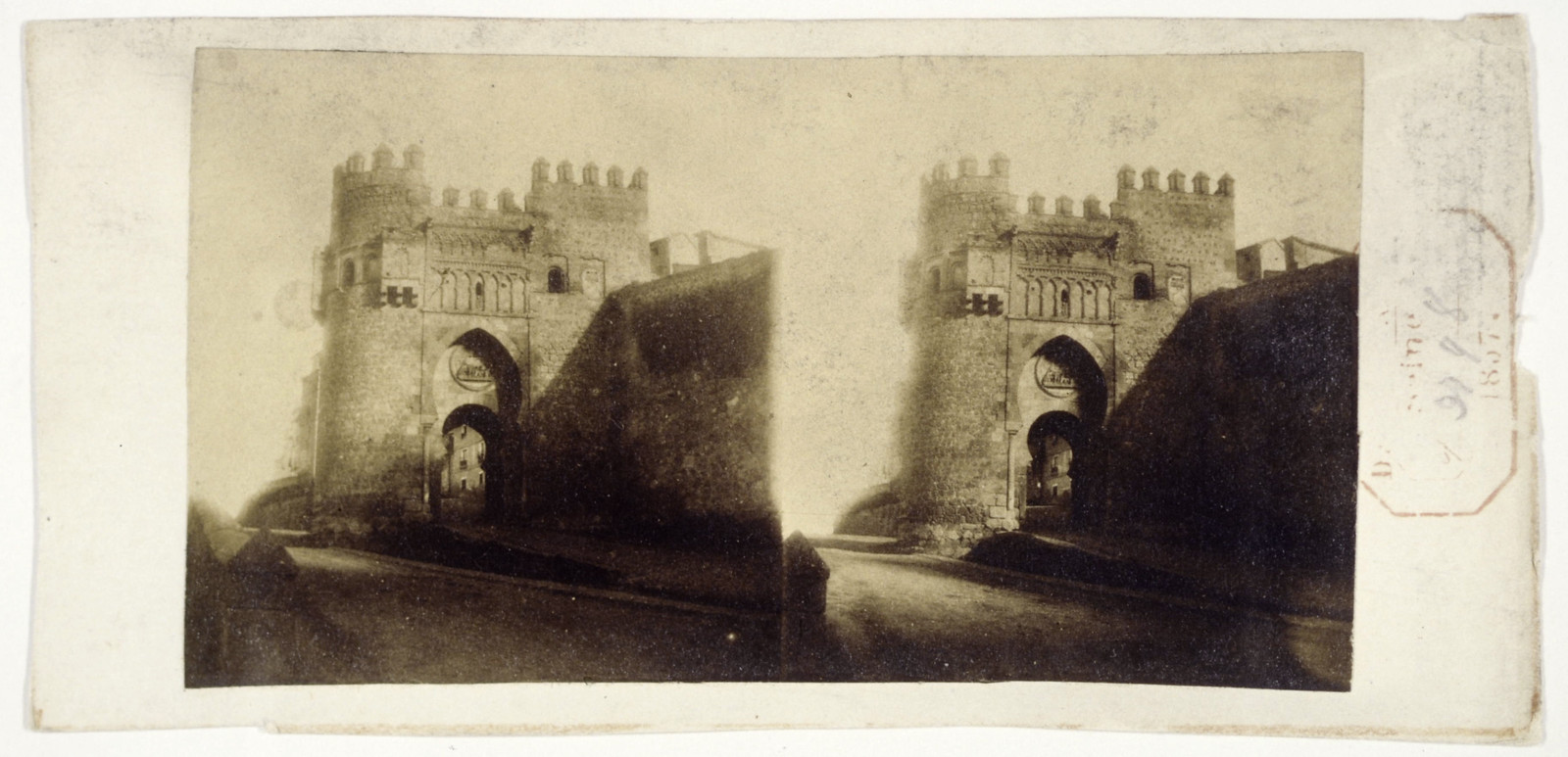 Puerta del Sol en 1856. Fotografía estereoscópica de Joseph Carpentier © Bibliothèque Nationale de France