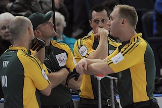 Edmonton Ab.Mar6,2013.Tim Hortons Brier.Northern Ontario,skip Brad Jacobs,third Ryan Fry,second E.J.Harnden,lead Ryan Harnden.CCA/michael burns photo | by seasonofchampions