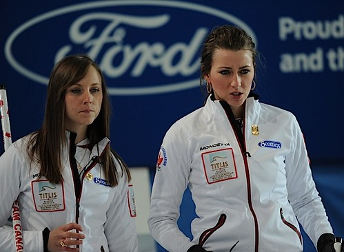 Riga Latvia,Mar21.2013.Titlus Woman's World Curling Championship.Canadian skip Rachel Homan,third Emma Miskew.CCA/michael burns photo | by seasonofchampions