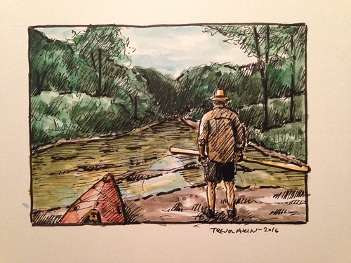 A sketch of my buddy Brian, from a kayak trip on Bull Shoals Lake a couple years ago.