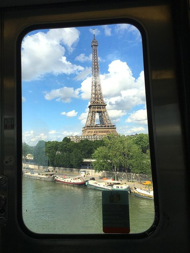 View of the Eiffel Tower from a metro train. Paris, France
