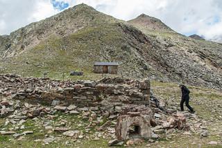 Biwak und Ruine der ehemaligen Heilbronner Hütte am Tascheljöchl
