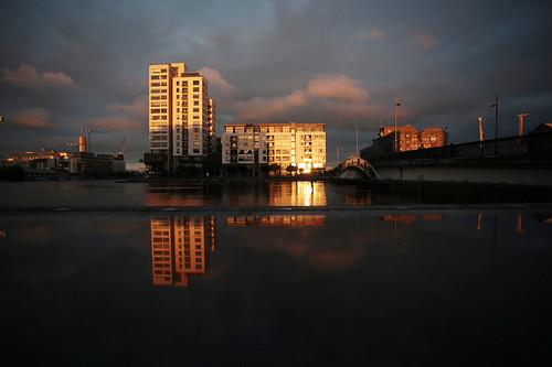 Il Grand Canal Dock al tramonto