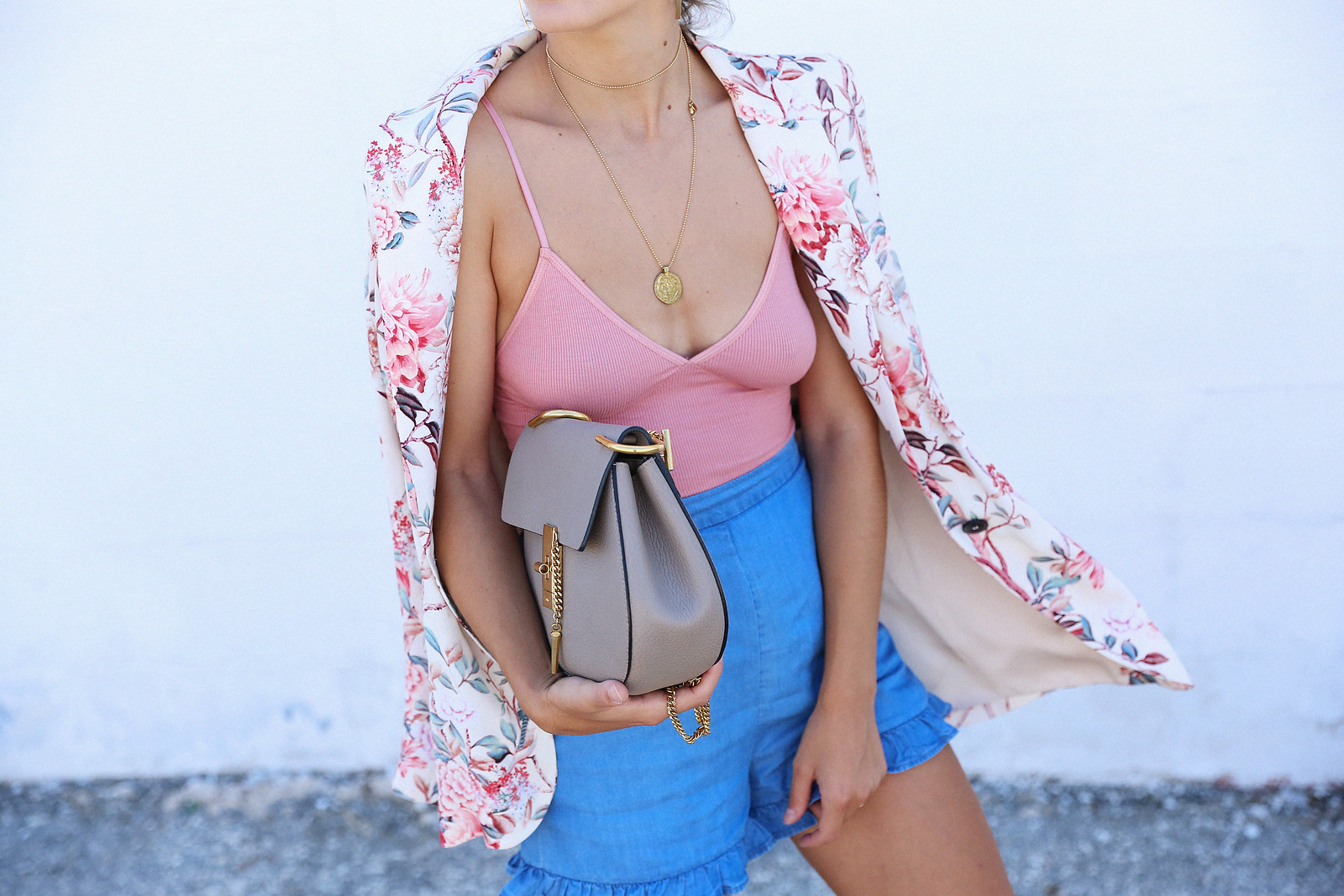 Jessie Chanes Seams for a Desire American Apparel Bodysuit Denim Shorts Flowered Print Blazer-15