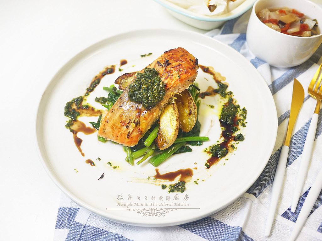 孤身廚房-烤鮭魚排佐香料烤南瓜及蒜香皇宮菜22