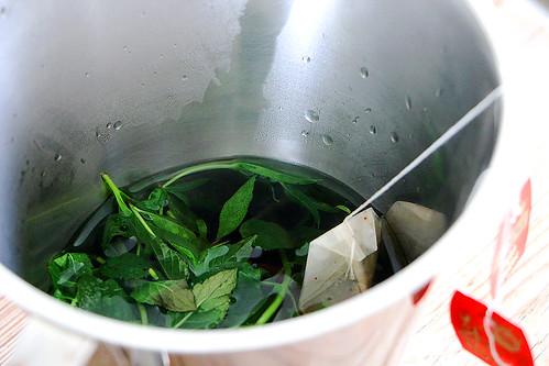 überbrühter Pfefferminze, Ysop, Verveine und Schwarztee für den «Fletschhorn-Tee» inspiriert durch Markus Neff, Chef im Waldhotel Fletschhorn Saas Fee
