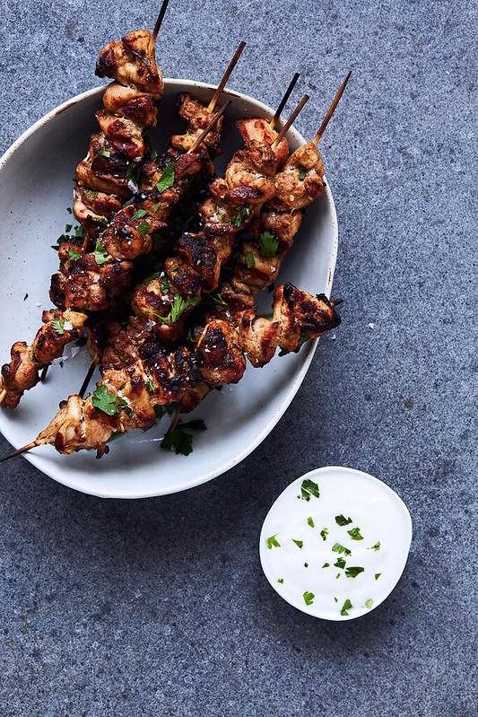 Moroccan Mint Rice with Spiced Chicken Skewers