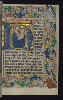 Illuminated Manuscript, Book of Hours in Dutch, Initial H with the Apocalyptic Madonna and Child, Walters Manuscript W.918, fol. 14r | by Walters Art Museum Illuminated Manuscripts