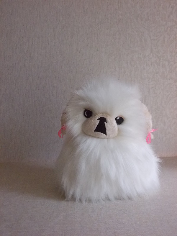 pekingese, handmade dog toy, white pekingese toy, pekingese pigtails, hair braids, stuffed pekingese furry plush teddy  8